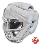 Шлем  с пластиковой маской для Каратэ КРИСТАЛЛ-11, иск. кожа